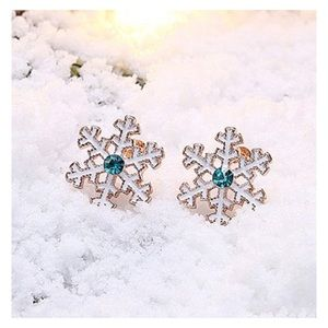 Rose Gold Holiday Snowflake Swarovski Earrings NIP